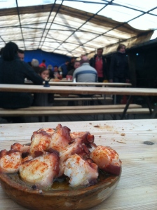 Pulpo is served up in large tents.
